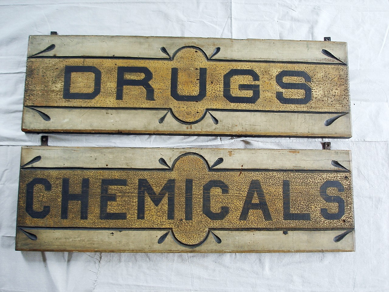 Pair Of Wooden Carved Signs